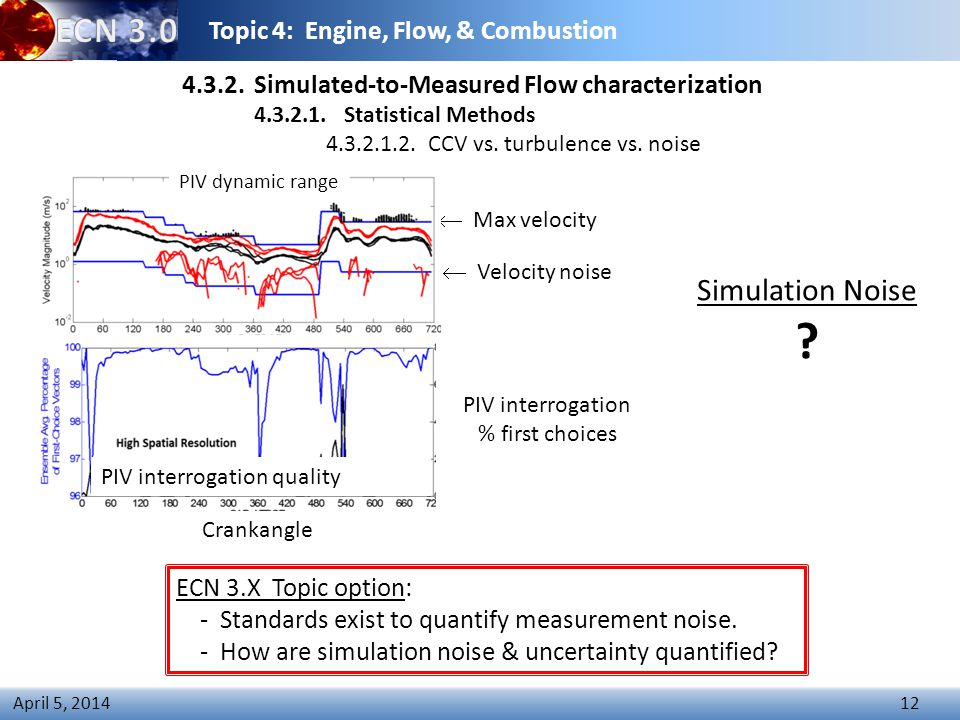 Topic 4: Engine, Flow, & Combustion 12 April 5, 2014  Max velocity  Velocity noise 4.3.2.
