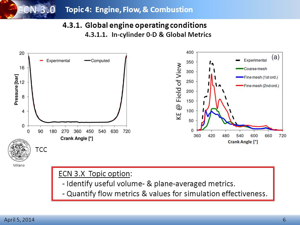 Topic 4: Engine, Flow, & Combustion 6 April 5, 2014 4.3.1.Global engine operating conditions 4.3.1.1.In-cylinder 0-D & Global Metrics ECN 3.X Topic option: - Identify useful volume- & plane-averaged metrics.