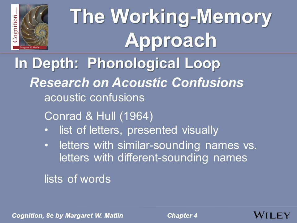 Cognition, 8e by Margaret W. MatlinChapter 4 The Working-Memory Approach In Depth: Phonological Loop Research on Acoustic Confusions acoustic confusio