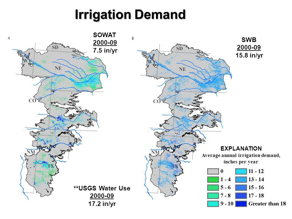 Irrigation Demand SOWAT 2000-09 7.5 in/yr SWB 2000-09 15.8 in/yr **USGS Water Use 2000-09 17.2 in/yr EXPLANATION Average annual irrigation demand, inches per year