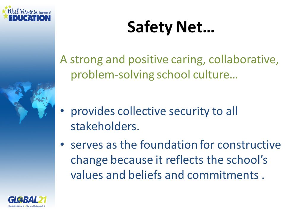 Safety Net… A strong and positive caring, collaborative, problem-solving school culture… provides collective security to all stakeholders. serves as t