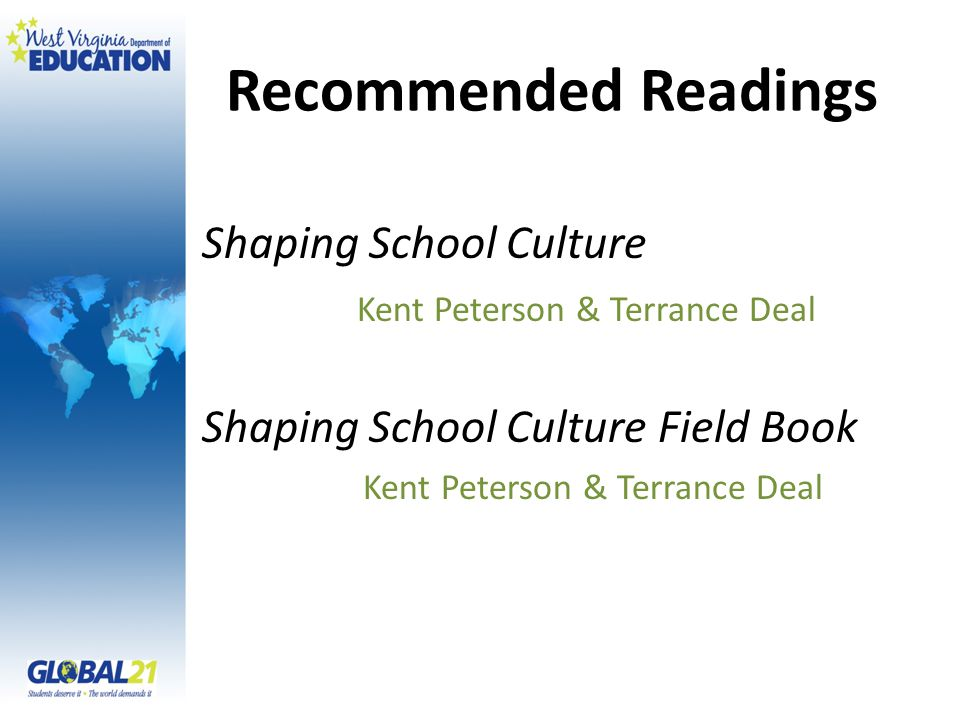 Recommended Readings Shaping School Culture Kent Peterson & Terrance Deal Shaping School Culture Field Book Kent Peterson & Terrance Deal