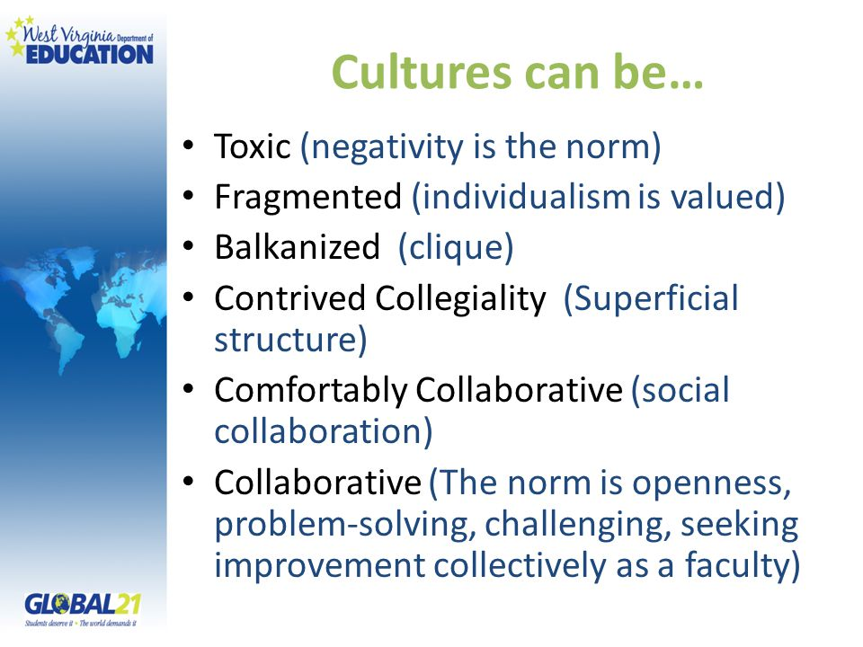 Cultures can be… Toxic (negativity is the norm) Fragmented (individualism is valued) Balkanized (clique) Contrived Collegiality (Superficial structure