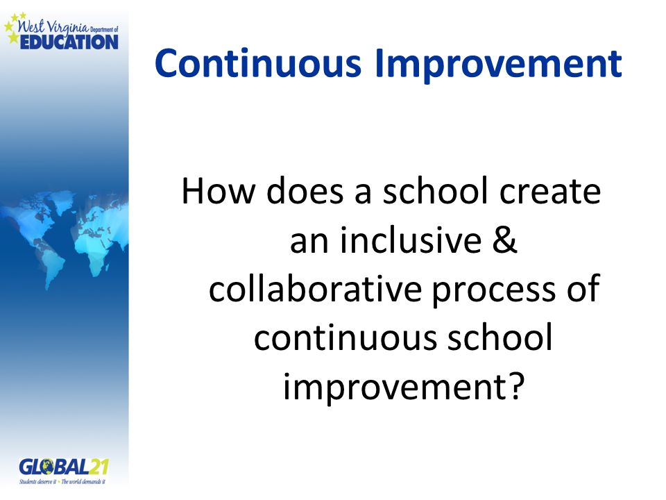 Continuous Improvement How does a school create an inclusive & collaborative process of continuous school improvement?