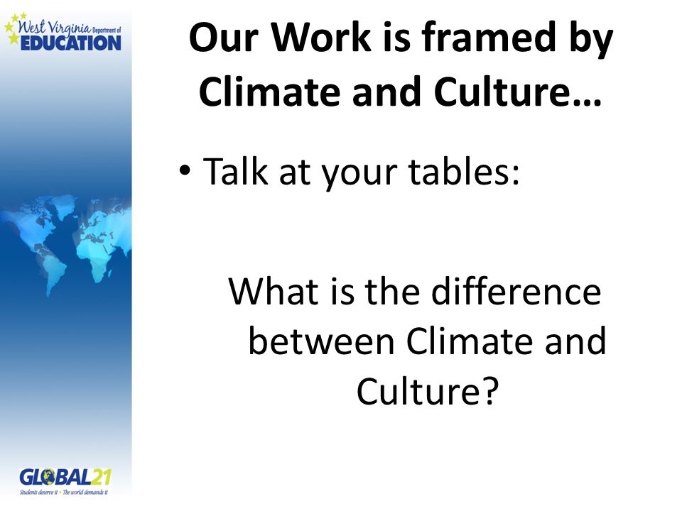 Our Work is framed by Climate and Culture… Talk at your tables: What is the difference between Climate and Culture?
