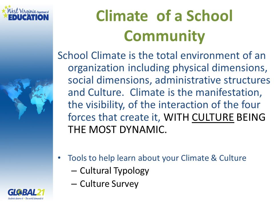 Climate of a School Community School Climate is the total environment of an organization including physical dimensions, social dimensions, administrat