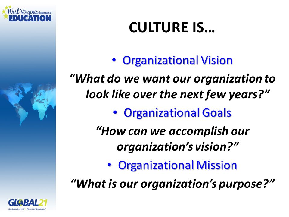 "CULTURE IS… Organizational Vision Organizational Vision ""What do we want our organization to look like over the next few years?"" Organizational Goals"
