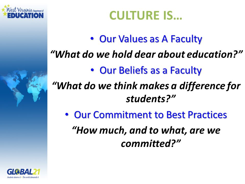 "CULTURE IS… Our Values as A Faculty Our Values as A Faculty ""What do we hold dear about education?"" Our Beliefs as a Faculty Our Beliefs as a Faculty"