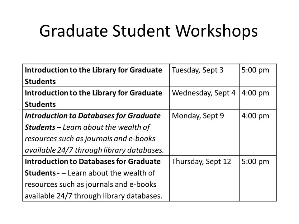 Graduate Student Workshops