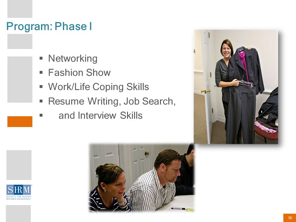 10 Program: Phase I  Networking  Fashion Show  Work/Life Coping Skills  Resume Writing, Job Search,  and Interview Skills
