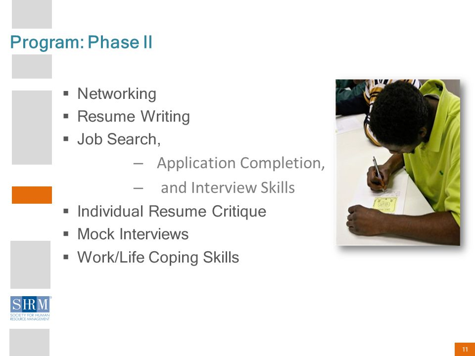 11 Program: Phase II  Networking  Resume Writing  Job Search, – Application Completion, – and Interview Skills  Individual Resume Critique  Mock Interviews  Work/Life Coping Skills