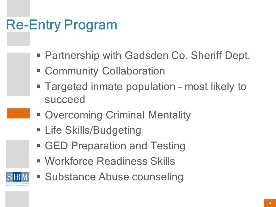 4 Re-Entry Program  Partnership with Gadsden Co. Sheriff Dept.
