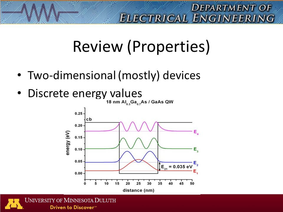 Review (Properties) Two-dimensional (mostly) devices Discrete energy values