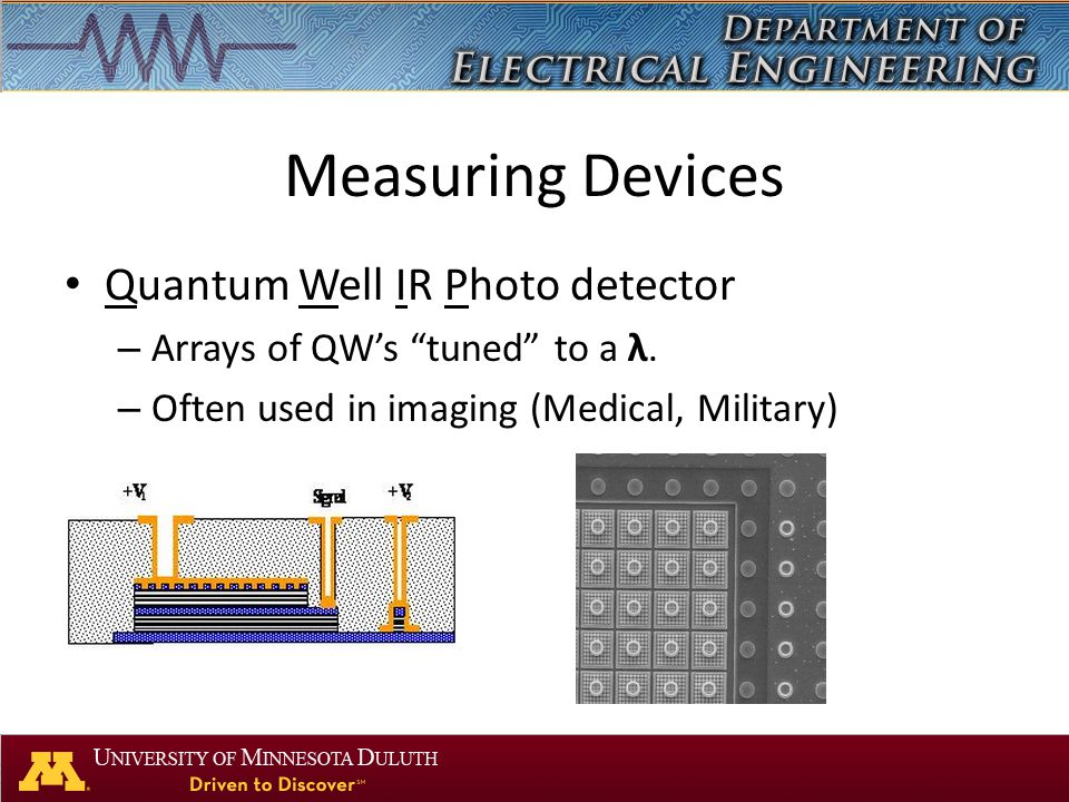 "Measuring Devices Quantum Well IR Photo detector – Arrays of QW's ""tuned"" to a λ. – Often used in imaging (Medical, Military)"