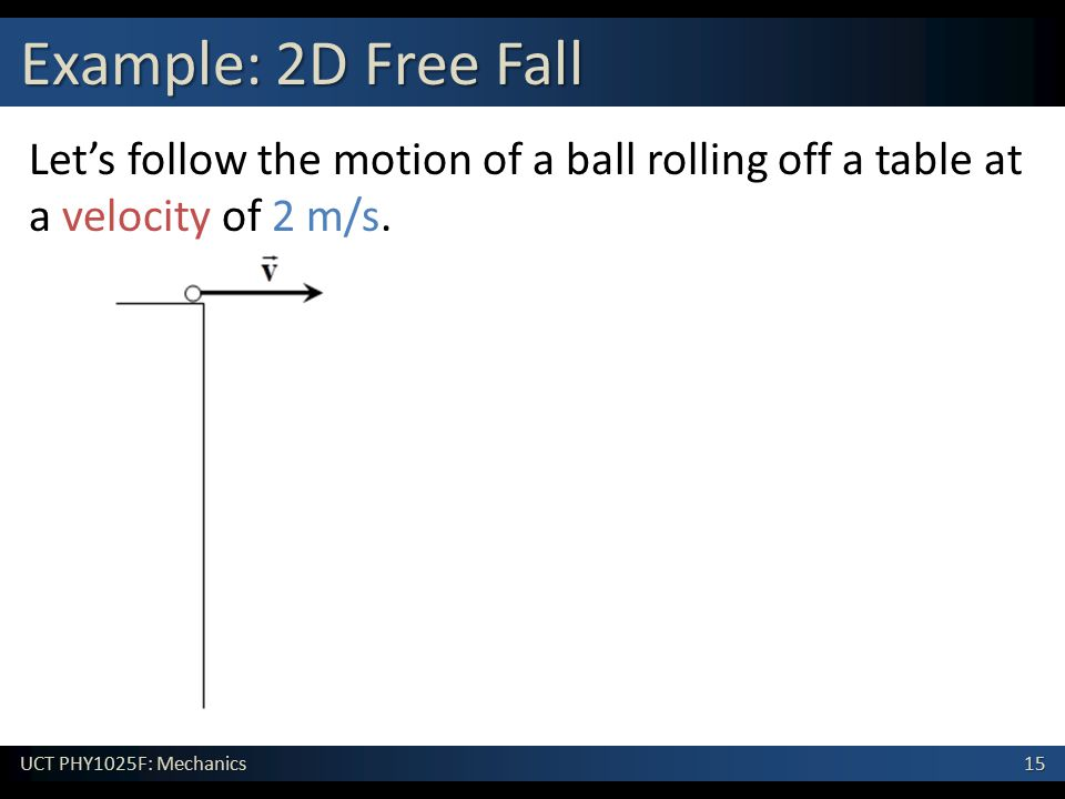 15 UCT PHY1025F: Mechanics Example: 2D Free Fall Let's follow the motion of a ball rolling off a table at a velocity of 2 m/s.
