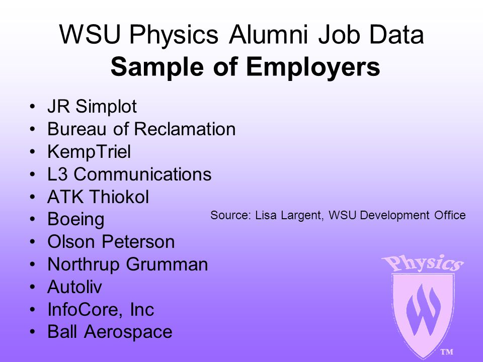 WSU Physics Alumni Job Data Sample of Employers JR Simplot Bureau of Reclamation KempTriel L3 Communications ATK Thiokol Boeing Olson Peterson Northru