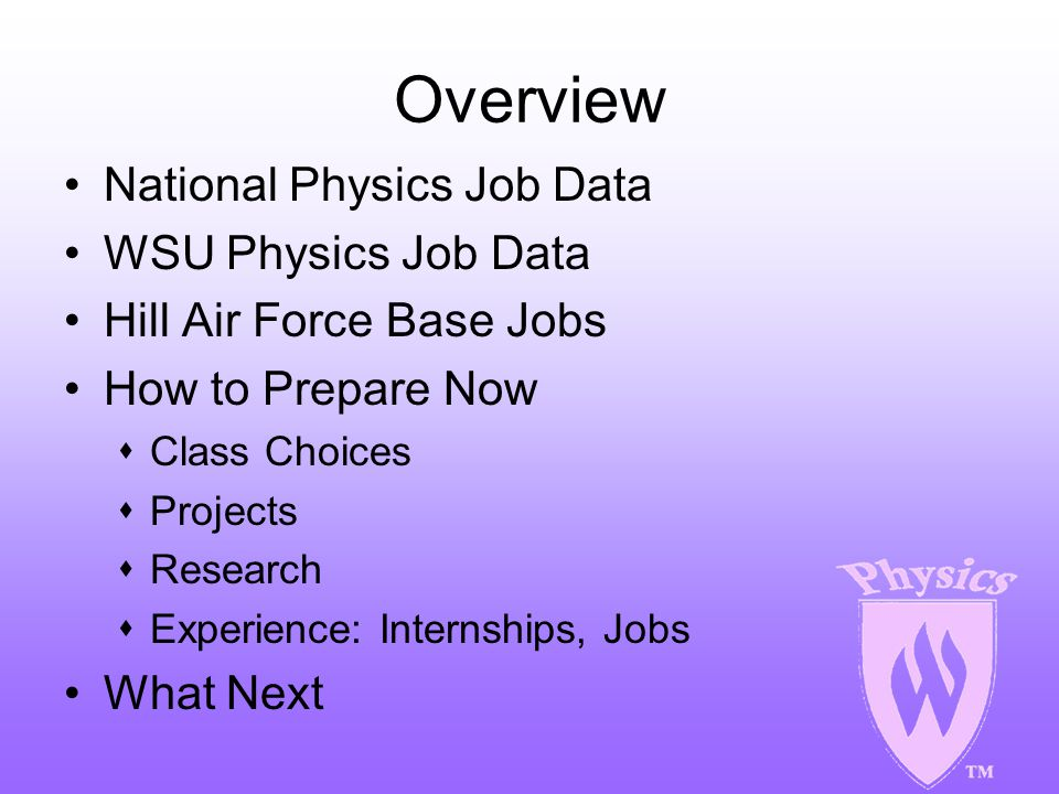 WSU Physics Alumni Job Data Examples of Actual Positions Corporate President Engineer Consultants -- self employed with own consulting firms Design Engineers Systems Engineers Programmers Research and Development Managers Civil Engineers Test Engineers Teachers Statisticians Source: Lisa Largent, WSU Development Office