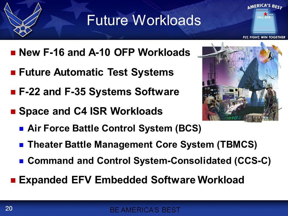 20 Future Workloads New F-16 and A-10 OFP Workloads Future Automatic Test Systems F-22 and F-35 Systems Software Space and C4 ISR Workloads Air Force Battle Control System (BCS) Theater Battle Management Core System (TBMCS) Command and Control System-Consolidated (CCS-C) Expanded EFV Embedded Software Workload BE AMERICA'S BEST