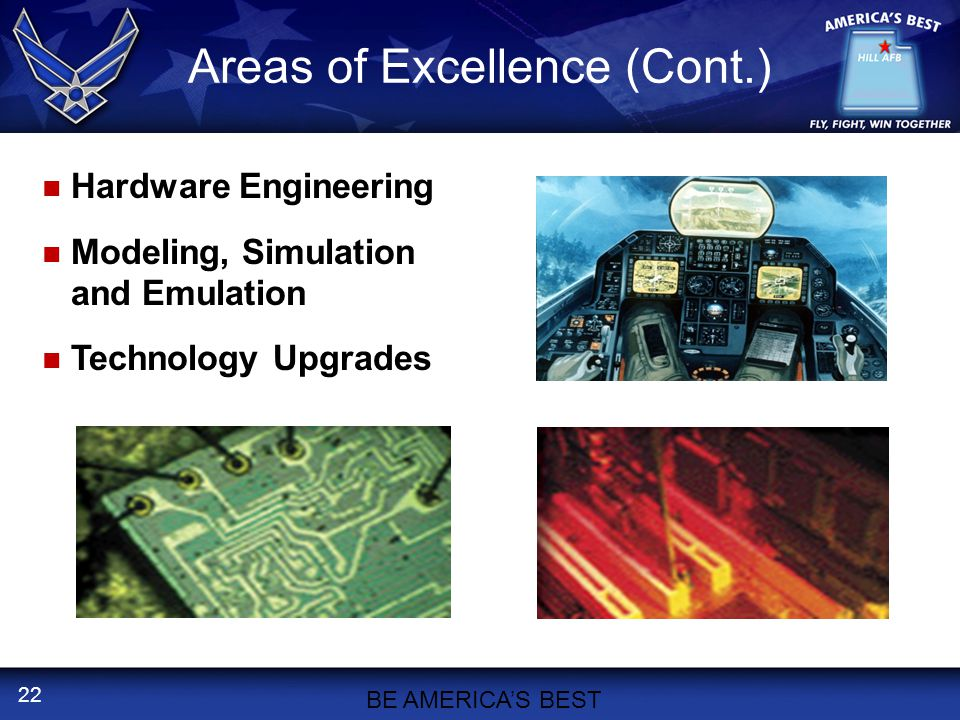 22 Areas of Excellence (Cont.) BE AMERICA'S BEST Hardware Engineering Modeling, Simulation and Emulation Technology Upgrades