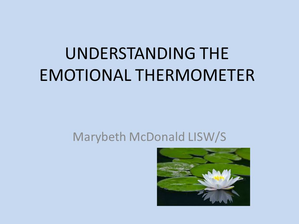 UNDERSTANDING THE EMOTIONAL THERMOMETER Marybeth McDonald LISW/S
