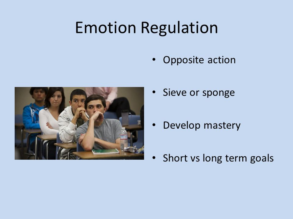 Emotion Regulation Opposite action Sieve or sponge Develop mastery Short vs long term goals