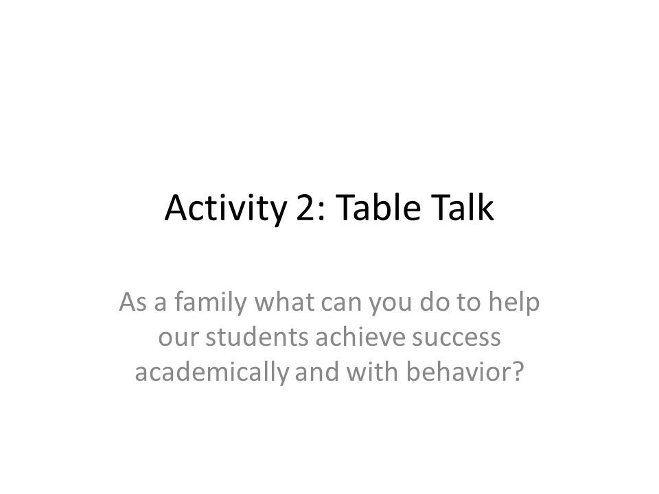 Activity 2: Table Talk As a family what can you do to help our students achieve success academically and with behavior