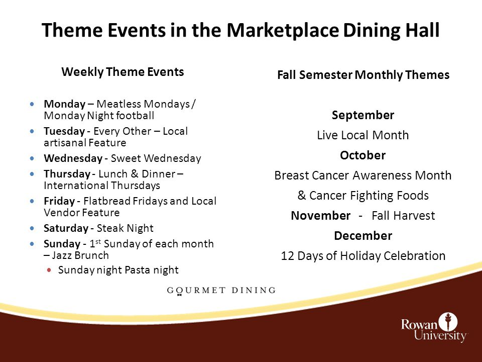 Theme Events in the Marketplace Dining Hall Weekly Theme Events Monday – Meatless Mondays / Monday Night football Tuesday - Every Other – Local artisanal Feature Wednesday - Sweet Wednesday Thursday - Lunch & Dinner – International Thursdays Friday - Flatbread Fridays and Local Vendor Feature Saturday - Steak Night Sunday - 1 st Sunday of each month – Jazz Brunch Sunday night Pasta night Fall Semester Monthly Themes September Live Local Month October Breast Cancer Awareness Month & Cancer Fighting Foods November - Fall Harvest December 12 Days of Holiday Celebration