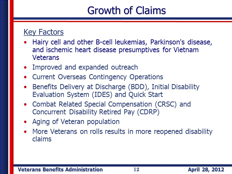 Veterans Benefits Administration April 28, 2012 12 Growth of Claims Key Factors Hairy cell and other B-cell leukemias, Parkinson s disease, and ischemic heart disease presumptives for Vietnam Veterans Improved and expanded outreach Current Overseas Contingency Operations Benefits Delivery at Discharge (BDD), Initial Disability Evaluation System (IDES) and Quick Start Combat Related Special Compensation (CRSC) and Concurrent Disability Retired Pay (CDRP) Aging of Veteran population More Veterans on rolls results in more reopened disability claims