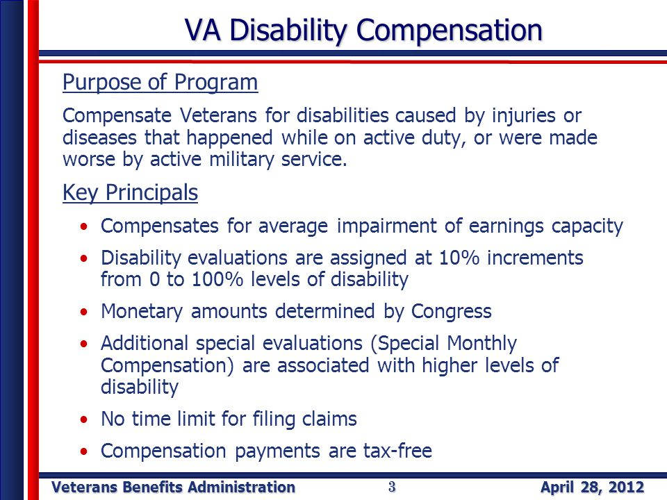 Veterans Benefits Administration April 28, 2012 3 VA Disability Compensation Purpose of Program Compensate Veterans for disabilities caused by injuries or diseases that happened while on active duty, or were made worse by active military service.