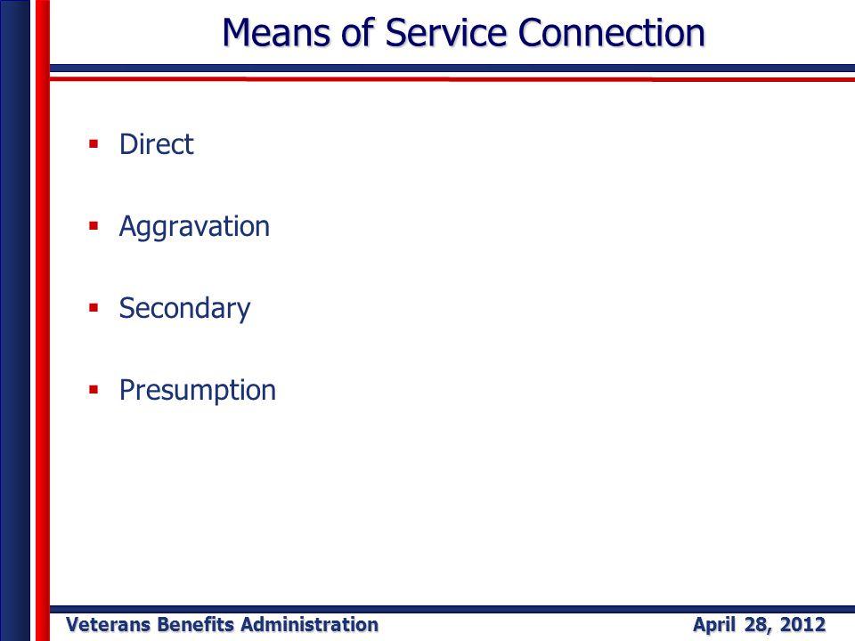 Veterans Benefits Administration April 28, 2012 Means of Service Connection Means of Service Connection  Direct  Aggravation  Secondary  Presumpti