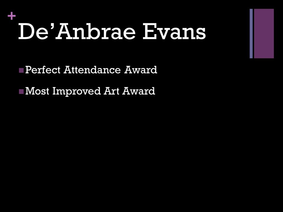 + De'Anbrae Evans Perfect Attendance Award Most Improved Art Award