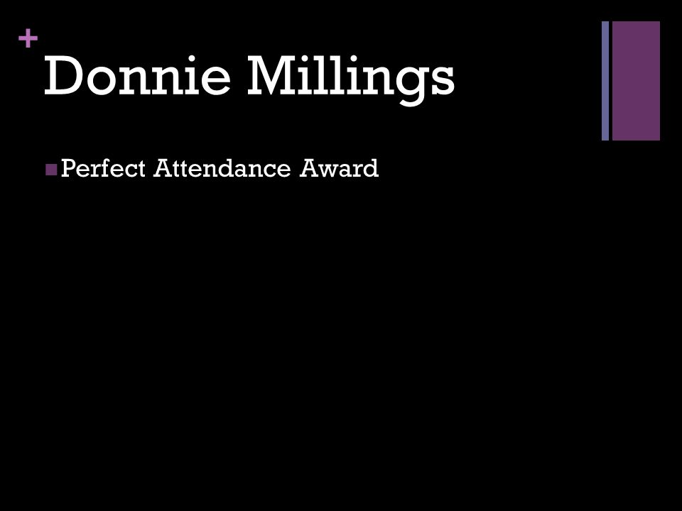 + Donnie Millings Perfect Attendance Award