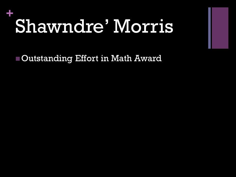 + Shawndre' Morris Outstanding Effort in Math Award