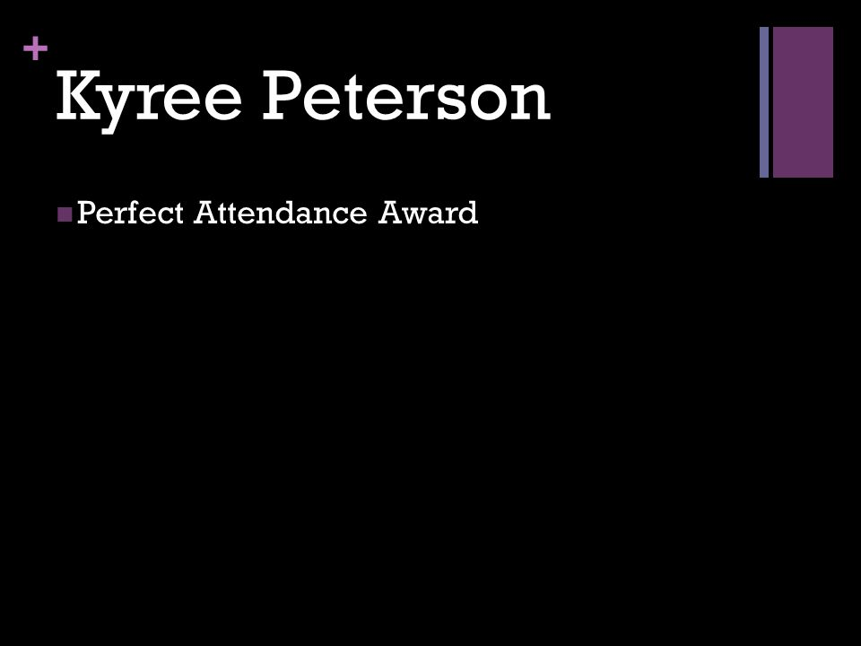 + Kyree Peterson Perfect Attendance Award