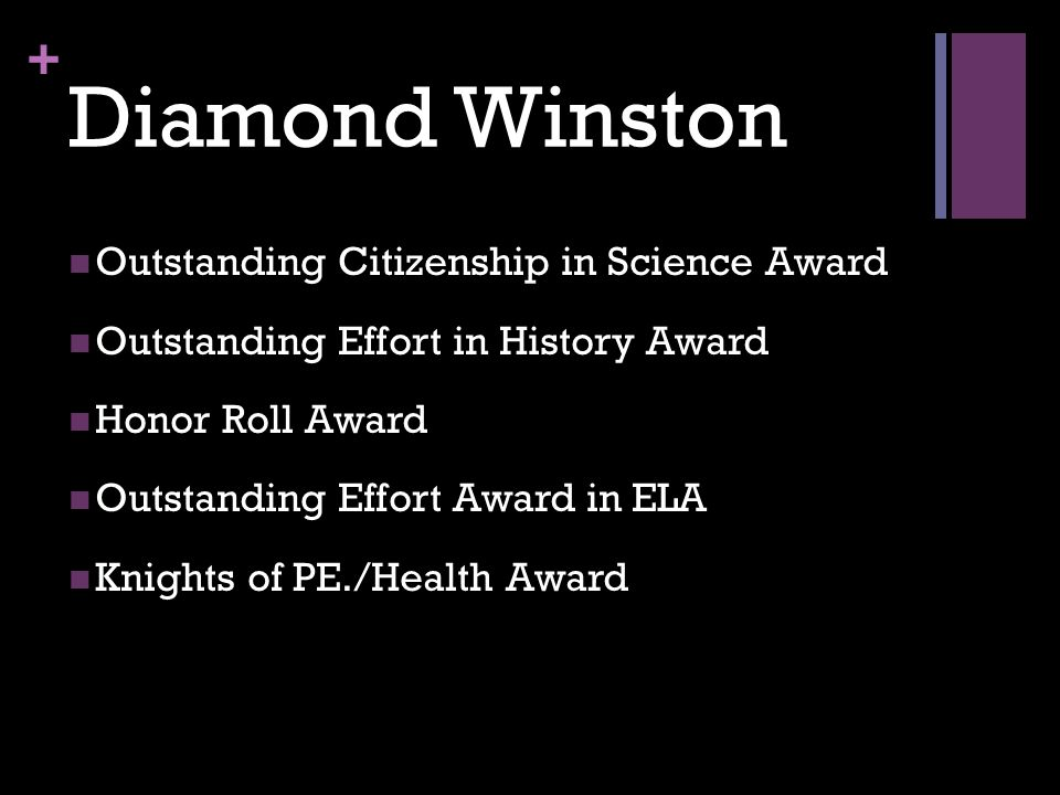 + Diamond Winston Outstanding Citizenship in Science Award Outstanding Effort in History Award Honor Roll Award Outstanding Effort Award in ELA Knight