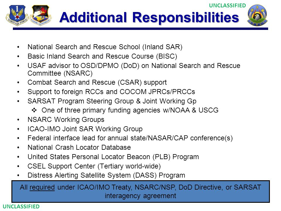 Additional Responsibilities National Search and Rescue School (Inland SAR) Basic Inland Search and Rescue Course (BISC) USAF advisor to OSD/DPMO (DoD)
