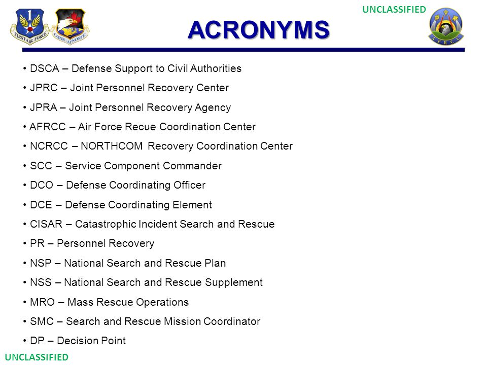 ACRONYMS DSCA – Defense Support to Civil Authorities JPRC – Joint Personnel Recovery Center JPRA – Joint Personnel Recovery Agency AFRCC – Air Force R