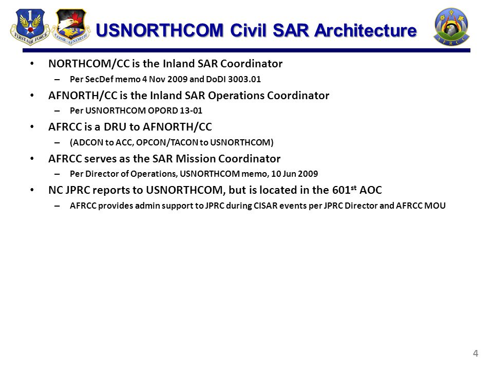 NORTHCOM/CC is the Inland SAR Coordinator – Per SecDef memo 4 Nov 2009 and DoDI 3003.01 AFNORTH/CC is the Inland SAR Operations Coordinator – Per USNO