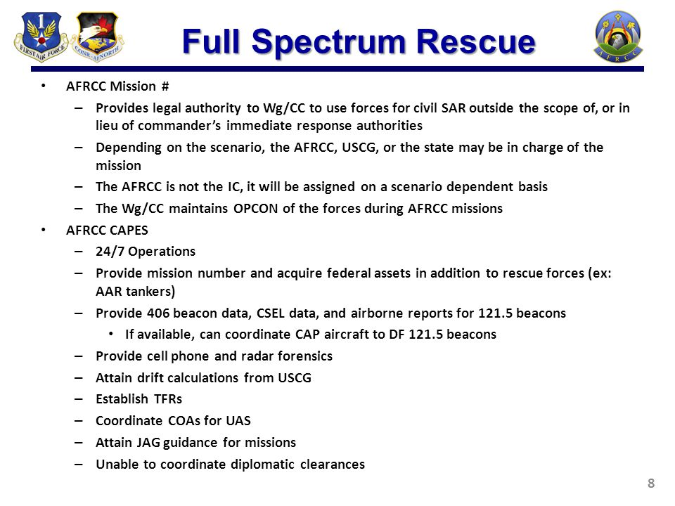 AFRCC Mission # – Provides legal authority to Wg/CC to use forces for civil SAR outside the scope of, or in lieu of commander's immediate response aut