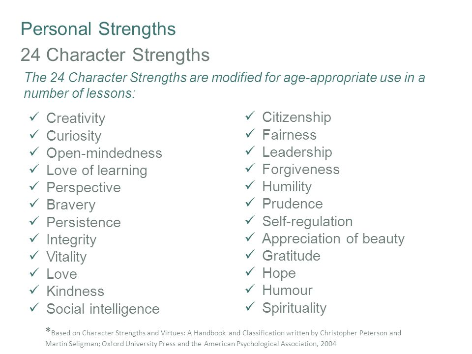 Personal Strengths Survey of Character Strengths A useful tool to help students (and teachers) identify their character strengths is Peterson and Seligman's online VIA (Values in Action) Signature Strengths Questionnaire The version of this questionnaire for children and young people from 10 to 17 years of age is used across the SEL materials The Seligman strengths test can be taken online: http://www.authentichappiness.sas.upenn.edu Click: Questionnaires Click: VIA Survey of Character Strengths Click: Register *A child/youth version of this survey is used in the Building Resilience lessons