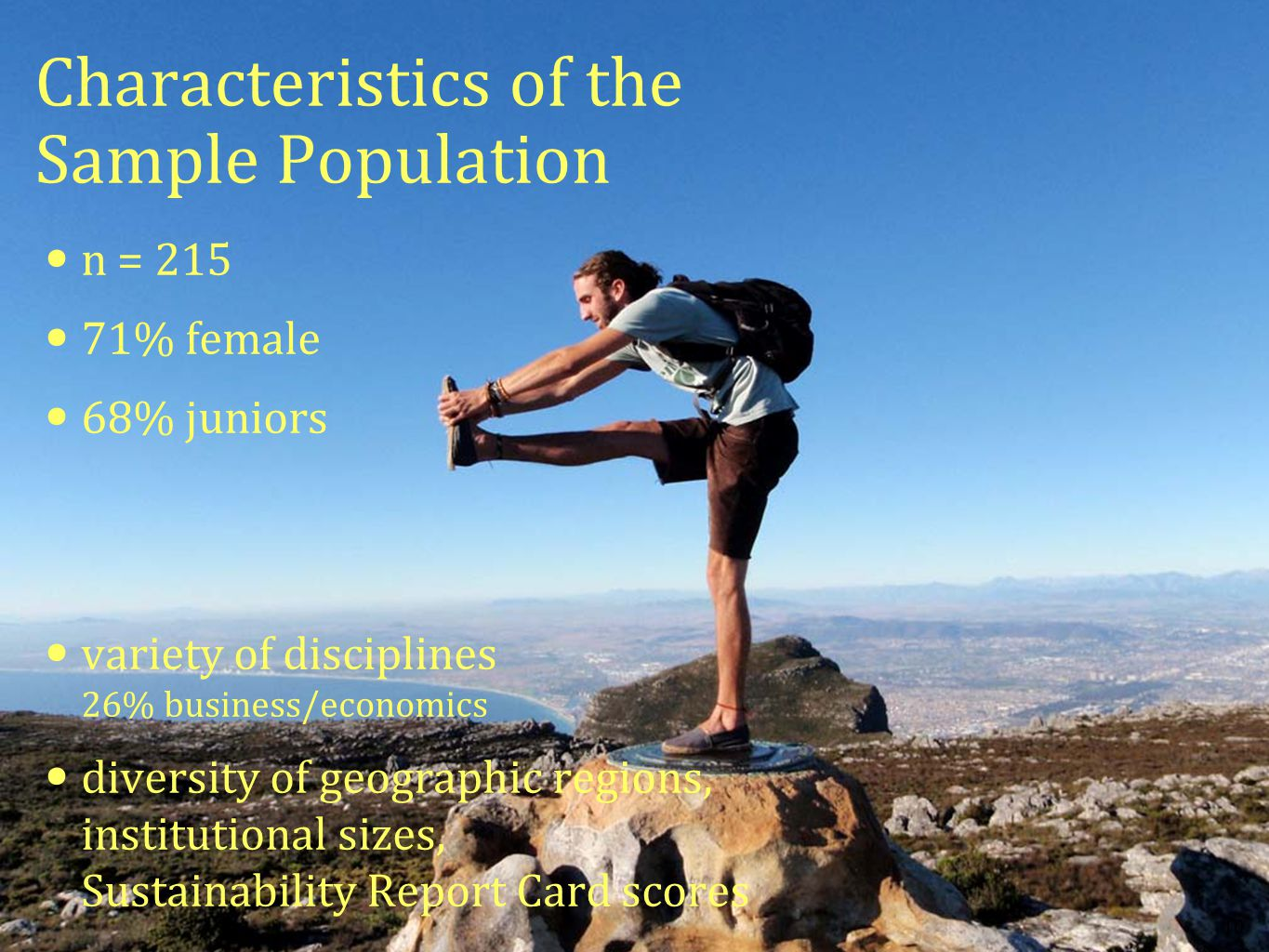 10 Characteristics of the Sample Population n = 215 71% female 68% juniors variety of disciplines 26% business/economics diversity of geographic regio