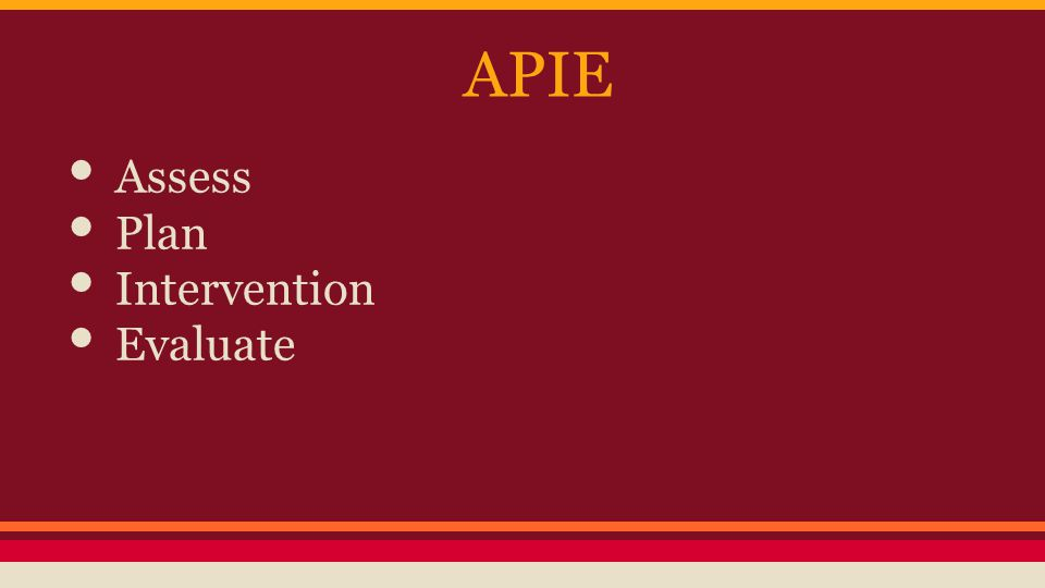 APIE Assess Plan Intervention Evaluate