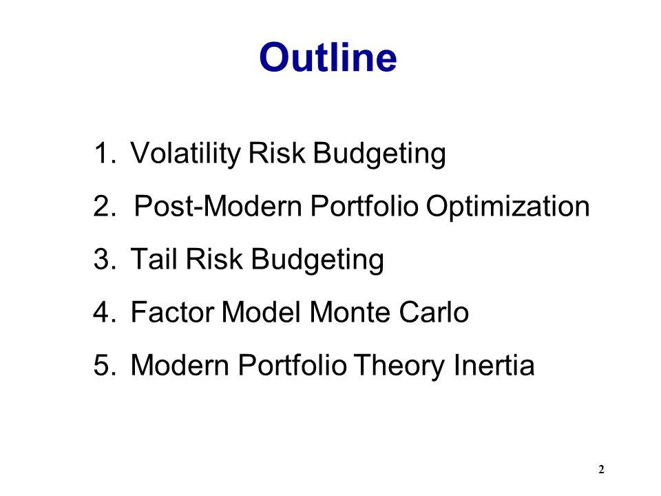 Outline 1.Volatility Risk Budgeting 2.