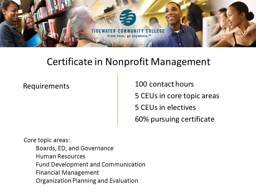 Certificate in Nonprofit Management 100 contact hours 5 CEUs in core topic areas 5 CEUs in electives 60% pursuing certificate Core topic areas: Boards, ED, and Governance Human Resources Fund Development and Communication Financial Management Organization Planning and Evaluation Requirements