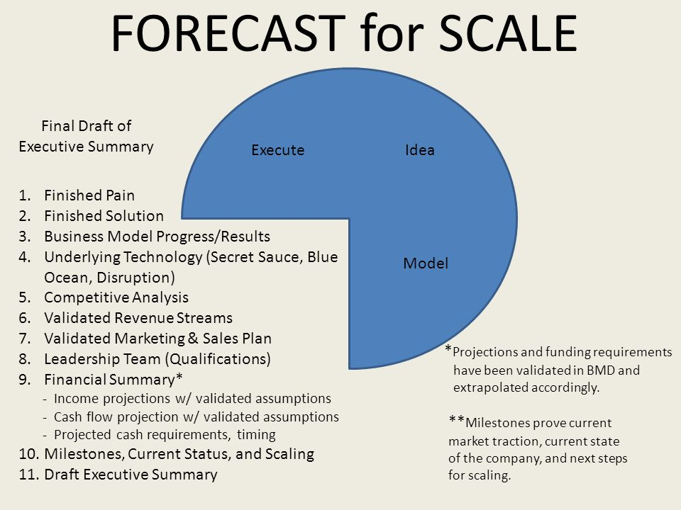 FORECAST for SCALE 1.Finished Pain 2.Finished Solution 3.Business Model Progress/Results 4.Underlying Technology (Secret Sauce, Blue Ocean, Disruption) 5.Competitive Analysis 6.Validated Revenue Streams 7.Validated Marketing & Sales Plan 8.Leadership Team (Qualifications) 9.Financial Summary* - Income projections w/ validated assumptions - Cash flow projection w/ validated assumptions - Projected cash requirements, timing 10.
