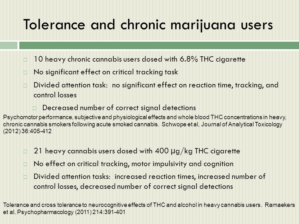 Tolerance and chronic marijuana users  10 heavy chronic cannabis users dosed with 6.8% THC cigarette  No significant effect on critical tracking tas