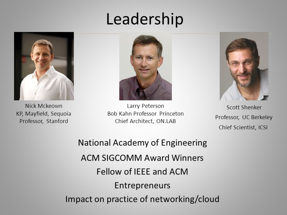 Leadership National Academy of Engineering ACM SIGCOMM Award Winners Fellow of IEEE and ACM Entrepreneurs Impact on practice of networking/cloud Nick