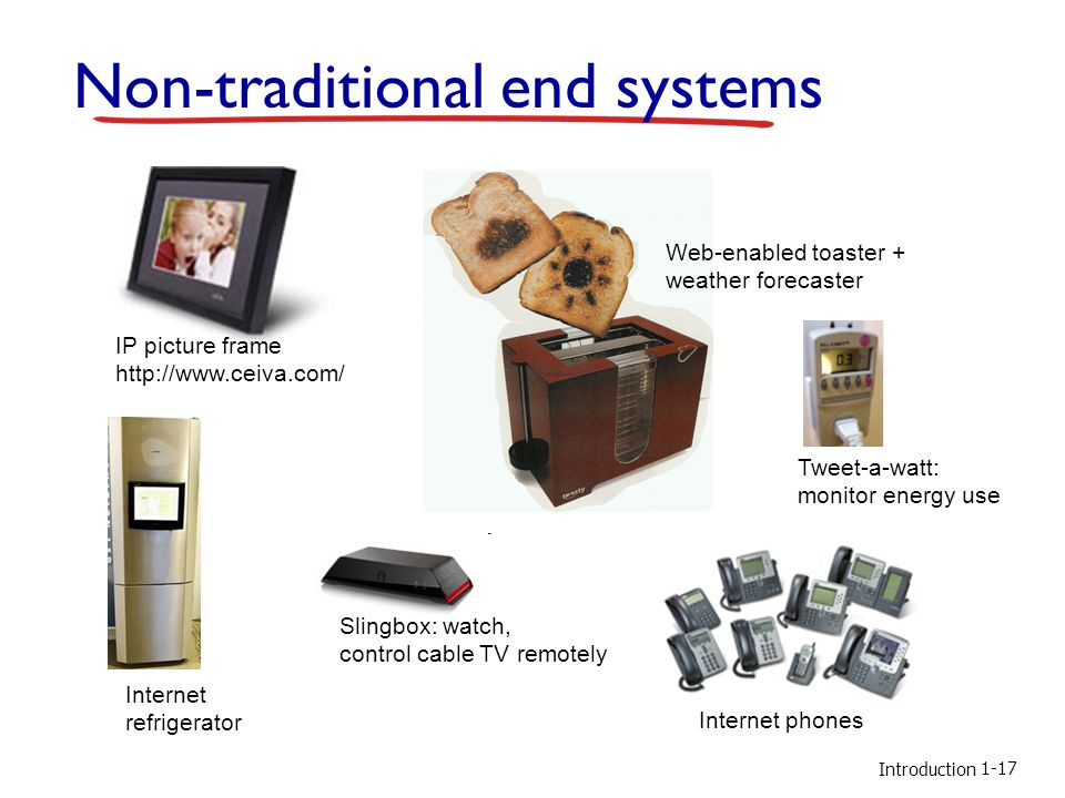 Introduction Non-traditional end systems IP picture frame http://www.ceiva.com/ Web-enabled toaster + weather forecaster Internet phones Internet refrigerator Slingbox: watch, control cable TV remotely 1-17 Tweet-a-watt: monitor energy use