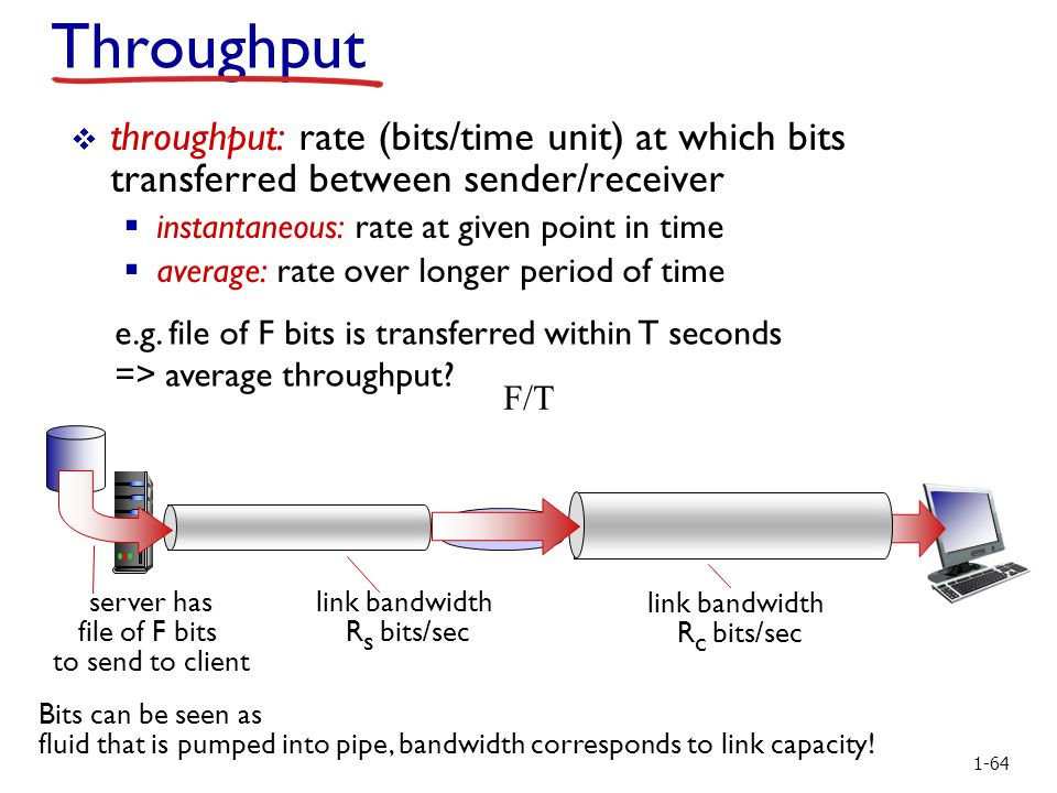 Introduction Throughput  throughput: rate (bits/time unit) at which bits transferred between sender/receiver  instantaneous: rate at given point in time  average: rate over longer period of time server has file of F bits to send to client link bandwidth R s bits/sec link bandwidth R c bits/sec Bits can be seen as fluid that is pumped into pipe, bandwidth corresponds to link capacity.