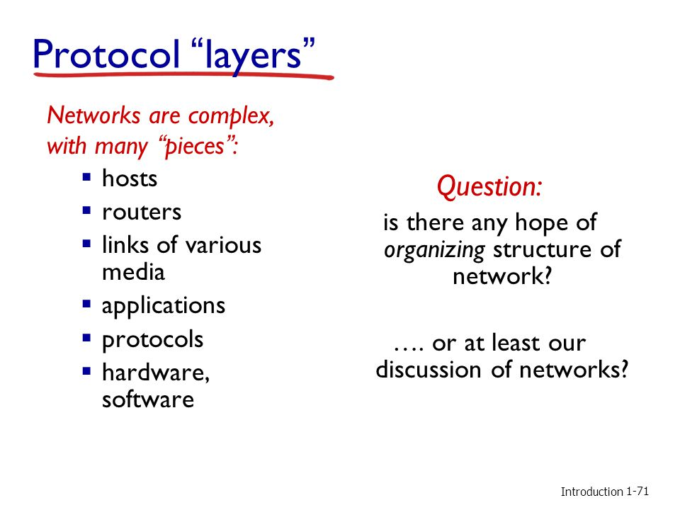 Introduction Protocol layers Networks are complex, with many pieces :  hosts  routers  links of various media  applications  protocols  hardware, software Question: is there any hope of organizing structure of network.